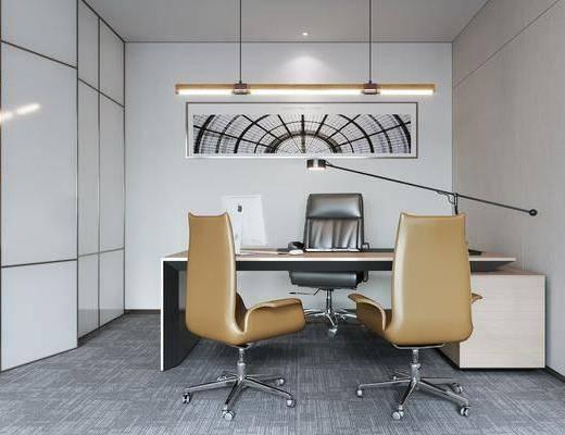 现代办公室, 办公桌椅, 吊灯