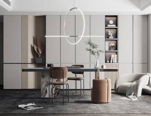 现代书房, 书桌, 吊灯, 装饰柜