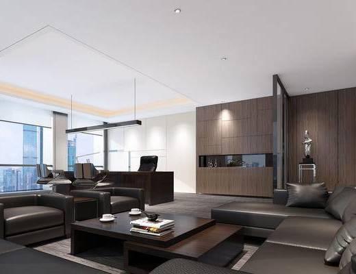 现代, 经理室, 办公室, 沙发, 办公桌, 办公椅, 椅子, 摆件, 陈设品, 案几, 茶几