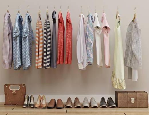 衣服上衣, 女装女包, 男鞋女鞋, 旅行箱, 外套, 衣架, 现代