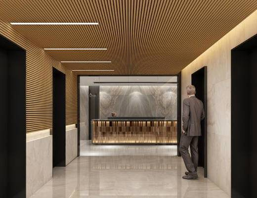 前台, 接待, 过道, 走廊, 现代, 办公