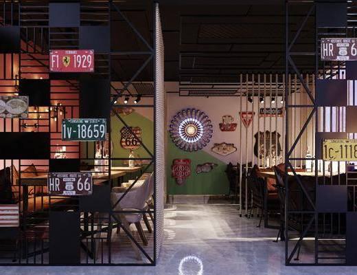 餐桌, 桌椅组合, 屏风, 装饰画