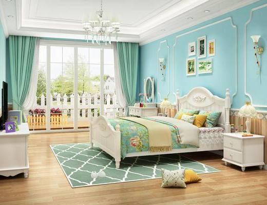 单人床, 电视柜, 装饰画, 吊灯, 床头柜, 壁灯
