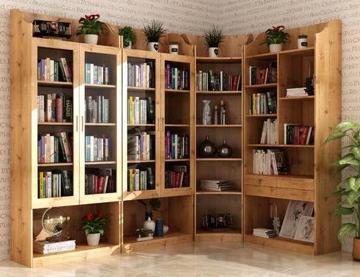 现代, 书柜, 书籍, 绿植