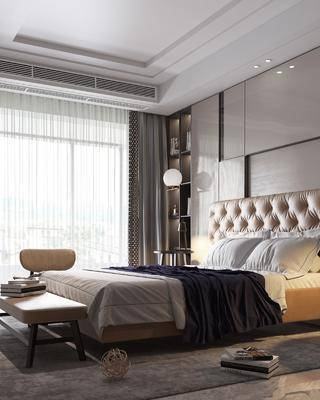 雙人床, 床具組合, 吊燈, 衣柜, 單椅