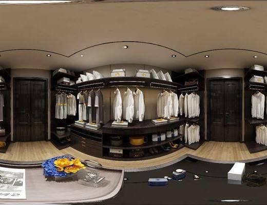 衣帽间, 衣柜, 衣橱, 衣服, 储物柜, 花瓶, 花卉, 摆件, 装饰品, 现代, 全景图