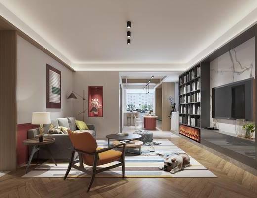 现代, 小户型, 客厅, 家装