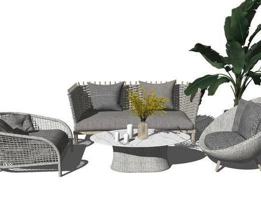 沙发组合, 茶几, 摆件组合, 植物, 盆栽