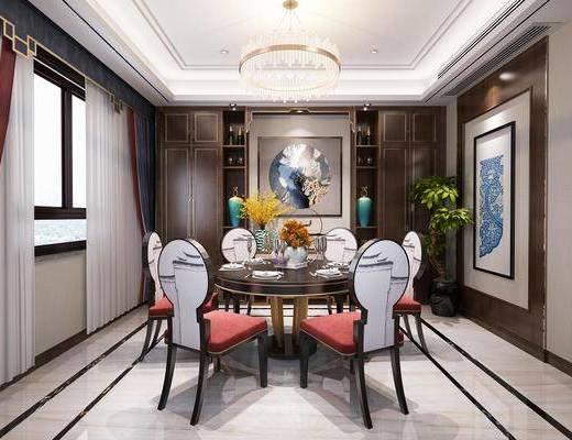 餐厅, 餐桌, 餐椅, 单人椅, 餐具, 盆栽, 花瓶花卉, 吊灯, 新中式