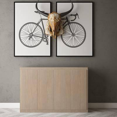 现代边柜组合, 墙饰, 挂画