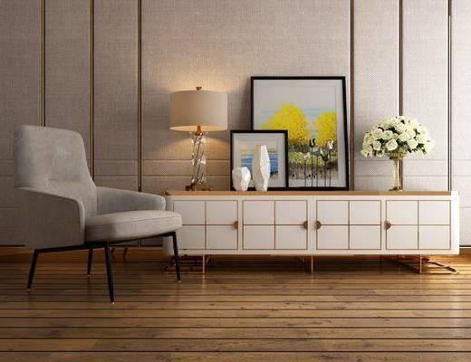 电视柜, 装饰柜, 边柜, 台灯, 装饰画, 挂画, 单人沙发, 摆件, 装饰品, 陈设品, 休闲椅, 后现代