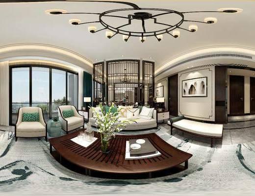 中式客廳, 客廳, 餐廳, 沙發組合, 餐桌椅