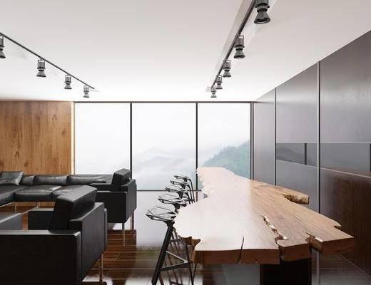 办公桌, 休闲区, 会议桌, 单人椅, 转角沙发, 单人沙发, 射灯, 现代