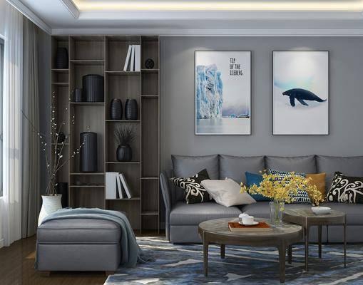 沙发组合, 现代沙发组合, 多人沙发, 茶几, 装饰画, 挂画, 装饰柜