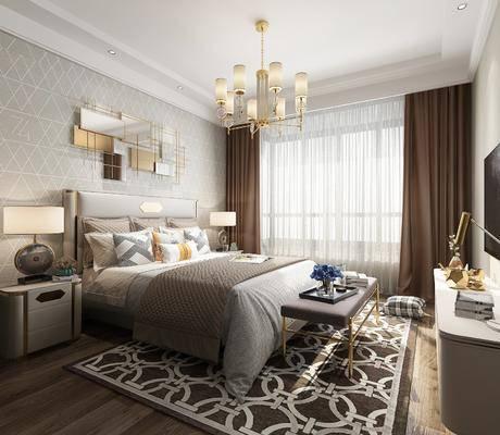 卧室, 双人床, 床尾凳, 床头柜, 台灯, 电视柜, 边柜, 吊灯, 墙饰, 摆件, 装饰品, 陈设品, 现代轻奢