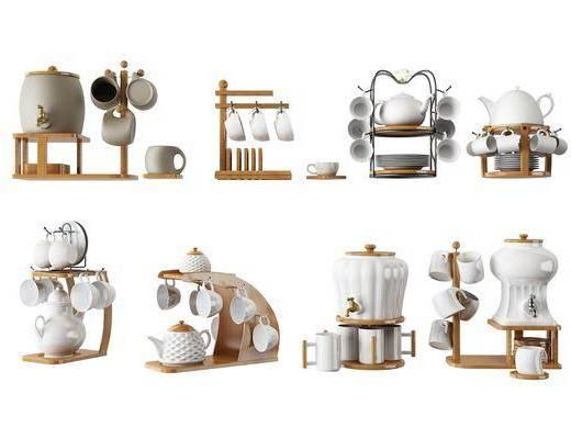 现代茶杯架组合, 现代, 茶杯, 茶杯架