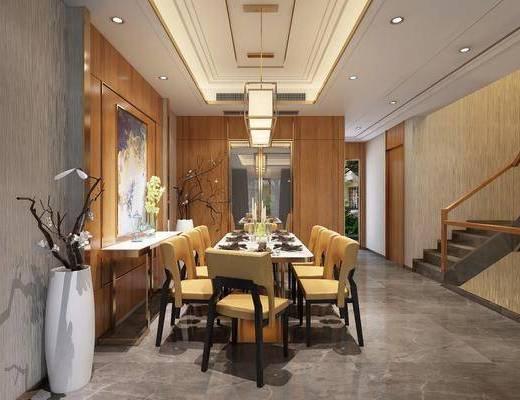 新中式别墅餐厅, 新中式, 餐厅, 餐桌椅, 中式吊灯, 楼梯, 花瓶