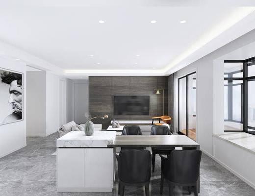 廚房, 吧臺, 裝飾畫, 電視機, 沙發組合, 單椅, 茶幾