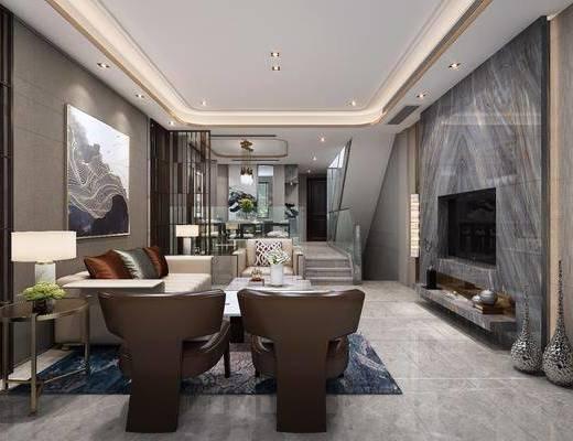 后现代别墅客餐厅, 后现代, 客厅, 沙发, 椅子, 壁灯, 餐厅, 楼梯