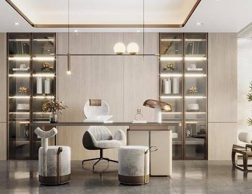 现代书房, 书桌, 休闲椅, 茶桌, 装饰柜, 吊灯