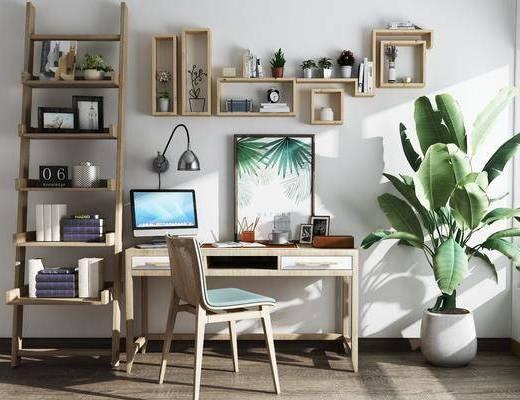 书桌, 单人椅, 壁灯, 盆栽绿植, 装饰架, 盆栽, 绿植, 植物, 书籍, 电脑, 摆件, 装饰品, 陈设品, 摆件组合, 北欧