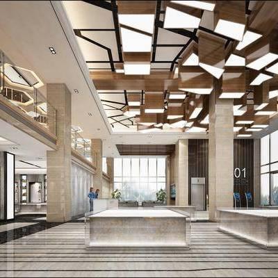 售楼处, 售楼部, 现代售楼处, 前台, 接待区, 背景墙, 现代