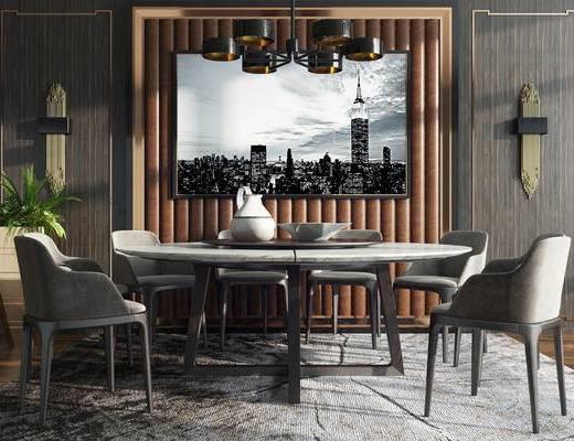 餐桌椅组合, 盆栽, 桌椅组合, 椅子, 单椅, 休闲椅, 装饰画, 挂画, 壁灯, 吊灯