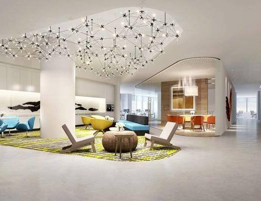 吊灯, 桌子, 椅子, 单人椅, 茶几, 摆件, 多人沙发, 休闲区, 现代, 双十一