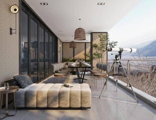 现代, 花园, 阳台