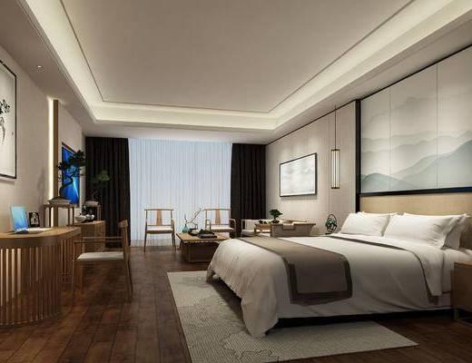 酒店客房, 新中式, 中式, 床, 单椅, 装饰画, 挂画, 桌子, 茶几, 吊灯
