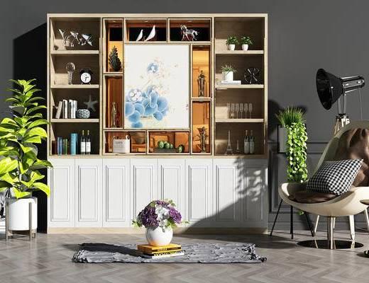 酒柜, 酒架, 红酒, 摆件, 酒水饮料, 椅子, 地毯, 落地灯, 盆景, 植物, 角几