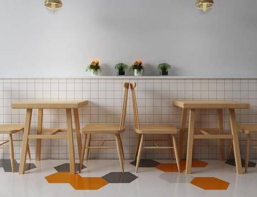 餐桌, 卡座, 桌椅组合, 吊灯