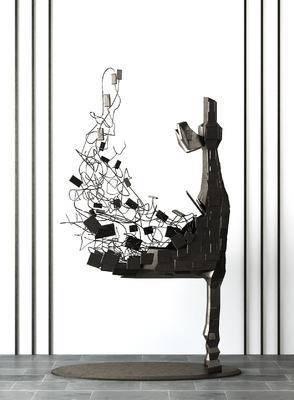 雕塑, 铁艺摆件, 现代, 抽象