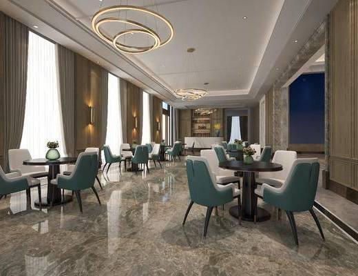 售楼部, 洽谈区, 椅子, 桌椅, 吊灯, 现代