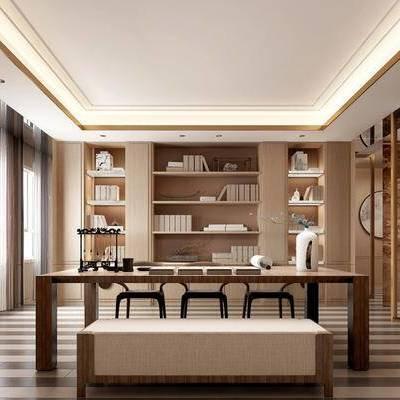 新中式书房, 新中式, 书房, 书桌, 书柜, 摆件, 窗帘, 椅子, 毛笔架, 书法, 装饰画