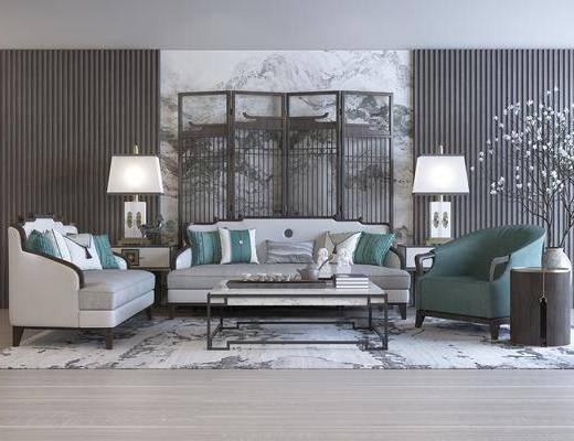 新中式, 客厅, 多人沙发, 边几
