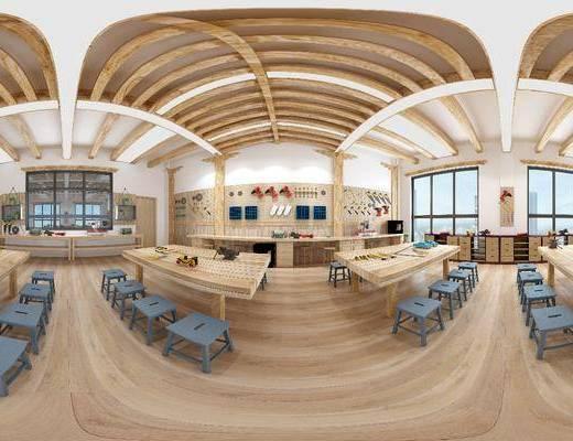 工装全景, 木作, 凳子, 工具, 桌子, 摆件, 现代