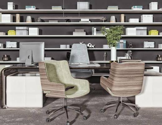 桌椅, 办公椅, 书柜, 摆件, 装饰品