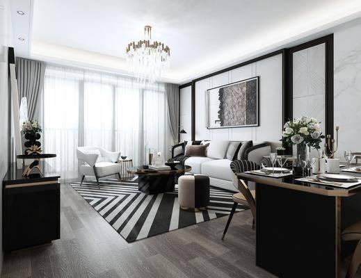 客厅, 餐厅, 沙发组合, 沙发茶几组合, 餐桌椅组合, 现代轻奢