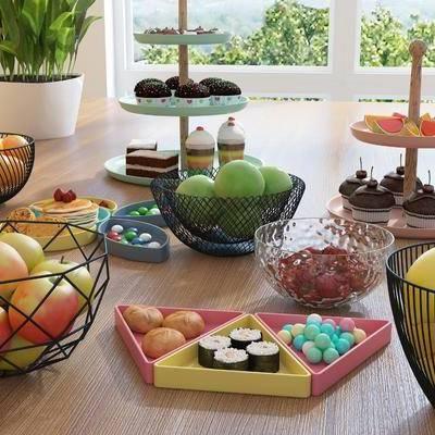 食物, 蛋糕, 水果, 托盘, 摆件, 水果篮, 寿司, 简欧