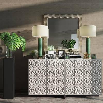 新古典装饰柜, 装饰柜, 现代, 后现代, 新古典, 边柜, 玄关柜, 台灯, 花瓶, 陈设品, 摆件, 摆设, 镜子