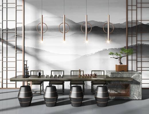 茶室桌椅, 茶桌, 单人椅, 凳子, 盆栽, 盆景, 绿植, 吊灯, 茶具, 植物, 端景组合, 新中式