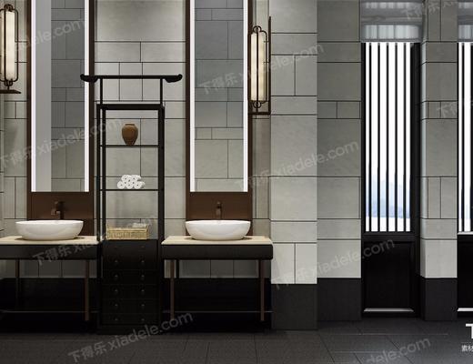 洗手台, 新中式, 壁灯, 置物架, 毛巾, 摆件, 装饰品, 镜子