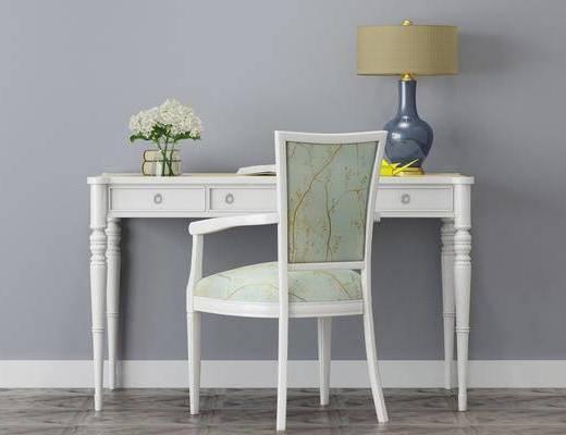 桌椅组合, 书桌, 台灯