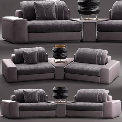 双人沙发, 布艺沙发, 边几, 台灯, 单人沙发, 现代