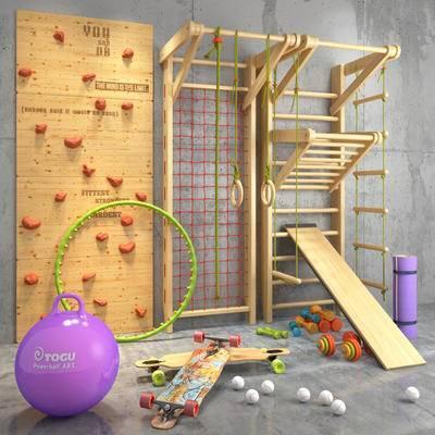 健身用品, 攀爬墙, 瑜伽球, 瑜伽垫, 滑板, 哑铃, 健身工具, 现代