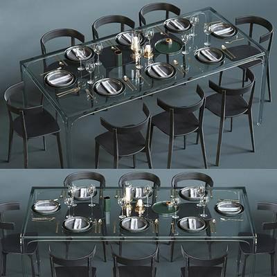 餐桌椅, 餐具, 北欧, 餐桌, 椅子, 餐椅, 摆件, 碗碟, 刀叉