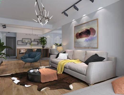 客厅, 餐厅, 沙发组合, 桌椅组合, 多人沙发, 地毯, 餐桌, 餐椅, 单人椅, 吊灯, 装饰画, 挂画, 现代