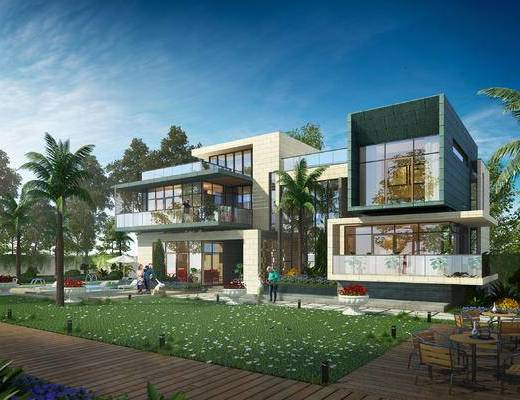 别墅, 现代别墅, 草坪, 树木, 植物, 人物, 喷泉