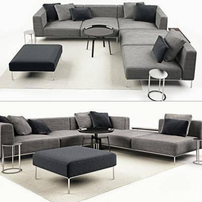 多人沙发, 转角沙发, 布艺·沙发, 茶几, 现代